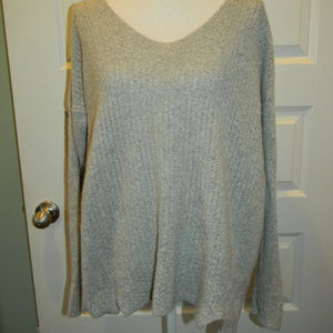 ANN TAYLOR LOFT COZY MIXED STITCH GRAY SWEATER LG